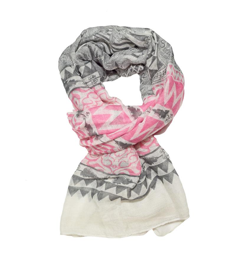 Langschal pink grau