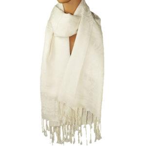 Großer Schal weiß mit Paisley Muster