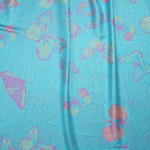 Pashmina Schal blau mit Schmetterlingsmuster