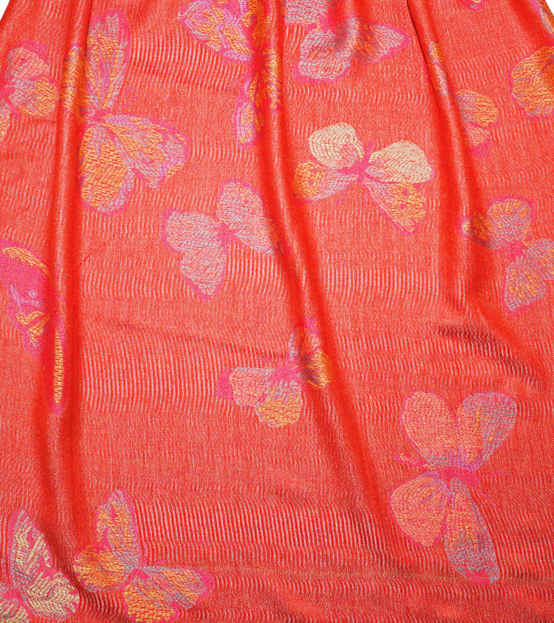 Pashmina Schal rot mit Schmetterlingsmuster