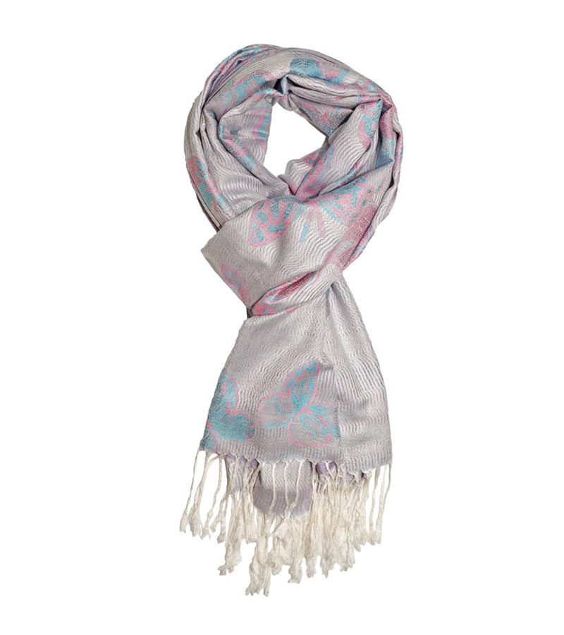 Pashmina Schal lila mit Schmetterlingsmuster