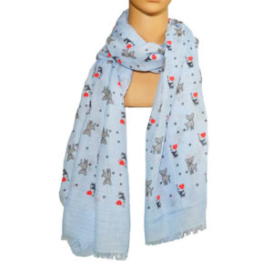 Schal blau mit Hundemotiven