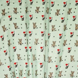 grüner Schal mit Hundmotiven