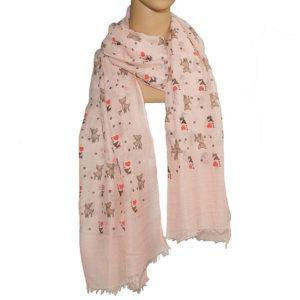 Schal rosa mit Hundemotiven