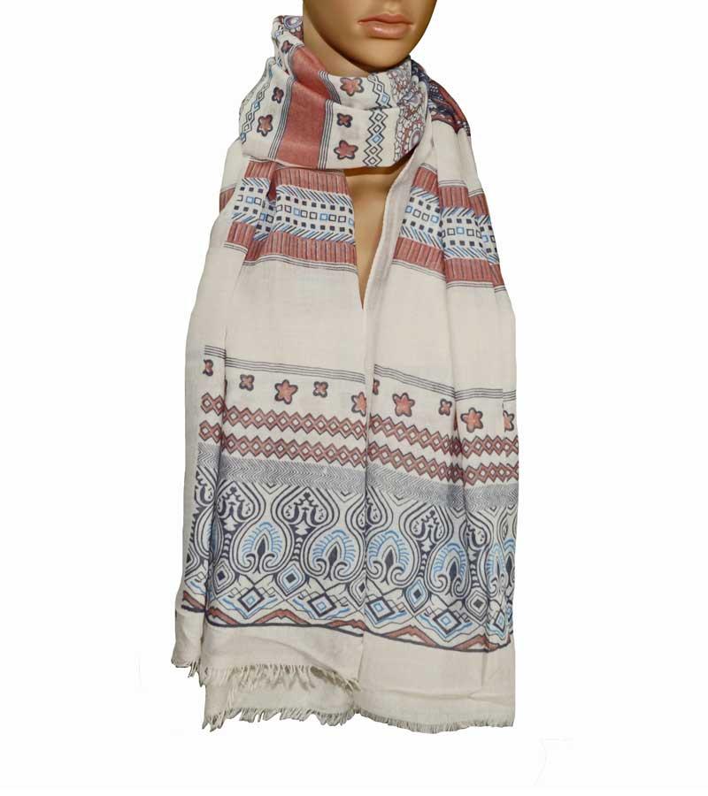 gemusterter Schal beige