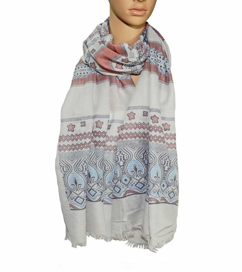 gemusterter Schal aus Bauwolle grau