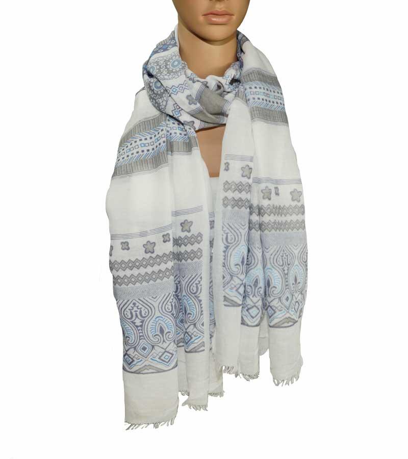 Schal aus Bauwolle weiß gemustert